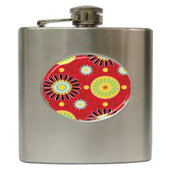 Sunflower Floral Red Yellow Black Circle Hip Flask (6 oz)