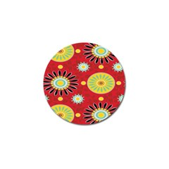 Sunflower Floral Red Yellow Black Circle Golf Ball Marker (4 pack)