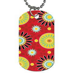 Sunflower Floral Red Yellow Black Circle Dog Tag (Two Sides)
