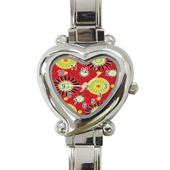 Sunflower Floral Red Yellow Black Circle Heart Italian Charm Watch