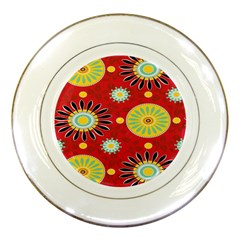 Sunflower Floral Red Yellow Black Circle Porcelain Plates