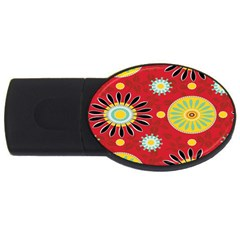 Sunflower Floral Red Yellow Black Circle Usb Flash Drive Oval (4 Gb)