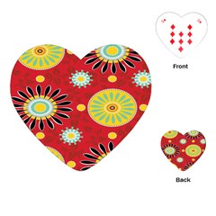 Sunflower Floral Red Yellow Black Circle Playing Cards (Heart)