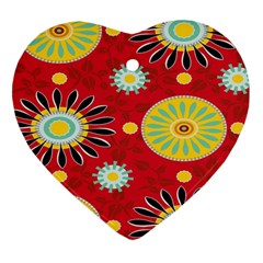 Sunflower Floral Red Yellow Black Circle Heart Ornament (Two Sides)