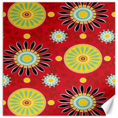 Sunflower Floral Red Yellow Black Circle Canvas 16  X 16