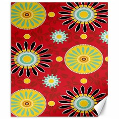 Sunflower Floral Red Yellow Black Circle Canvas 20  x 24