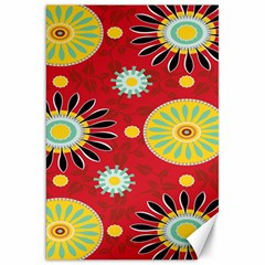 Sunflower Floral Red Yellow Black Circle Canvas 20  x 30