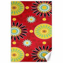 Sunflower Floral Red Yellow Black Circle Canvas 24  x 36