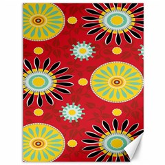 Sunflower Floral Red Yellow Black Circle Canvas 36  x 48