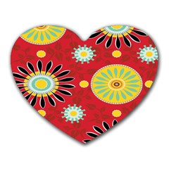 Sunflower Floral Red Yellow Black Circle Heart Mousepads