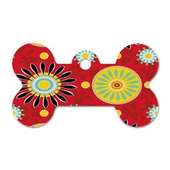 Sunflower Floral Red Yellow Black Circle Dog Tag Bone (One Side)
