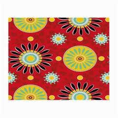 Sunflower Floral Red Yellow Black Circle Small Glasses Cloth (2-Side)