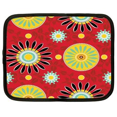 Sunflower Floral Red Yellow Black Circle Netbook Case (Large)