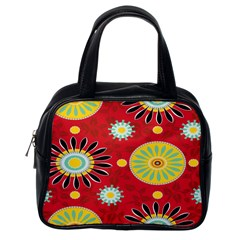Sunflower Floral Red Yellow Black Circle Classic Handbags (one Side)