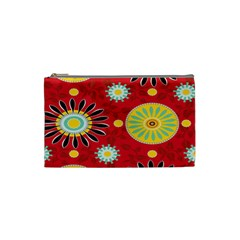 Sunflower Floral Red Yellow Black Circle Cosmetic Bag (Small)