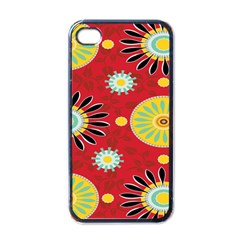 Sunflower Floral Red Yellow Black Circle Apple iPhone 4 Case (Black)