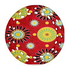 Sunflower Floral Red Yellow Black Circle Round Filigree Ornament (Two Sides)