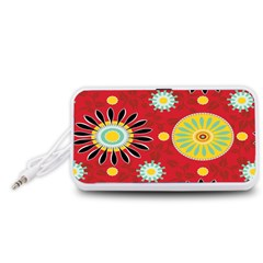 Sunflower Floral Red Yellow Black Circle Portable Speaker (White)