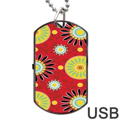 Sunflower Floral Red Yellow Black Circle Dog Tag USB Flash (Two Sides)