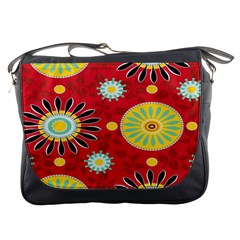 Sunflower Floral Red Yellow Black Circle Messenger Bags