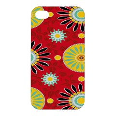 Sunflower Floral Red Yellow Black Circle Apple iPhone 4/4S Premium Hardshell Case