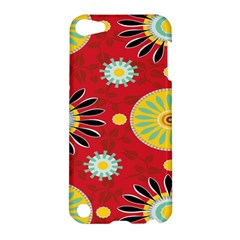 Sunflower Floral Red Yellow Black Circle Apple Ipod Touch 5 Hardshell Case