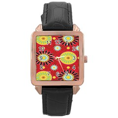 Sunflower Floral Red Yellow Black Circle Rose Gold Leather Watch