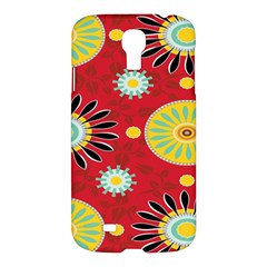 Sunflower Floral Red Yellow Black Circle Samsung Galaxy S4 I9500/I9505 Hardshell Case