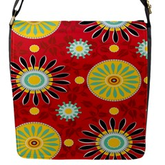 Sunflower Floral Red Yellow Black Circle Flap Messenger Bag (S)