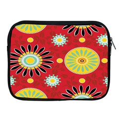 Sunflower Floral Red Yellow Black Circle Apple Ipad 2/3/4 Zipper Cases