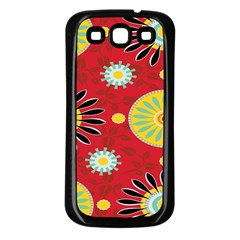 Sunflower Floral Red Yellow Black Circle Samsung Galaxy S3 Back Case (Black)