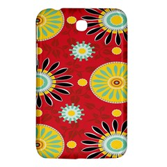 Sunflower Floral Red Yellow Black Circle Samsung Galaxy Tab 3 (7 ) P3200 Hardshell Case