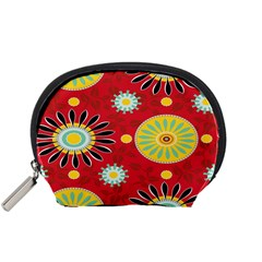 Sunflower Floral Red Yellow Black Circle Accessory Pouches (Small)