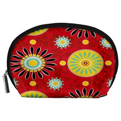 Sunflower Floral Red Yellow Black Circle Accessory Pouches (Large)