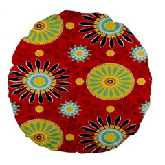 Sunflower Floral Red Yellow Black Circle Large 18  Premium Flano Round Cushions