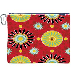 Sunflower Floral Red Yellow Black Circle Canvas Cosmetic Bag (XXXL)