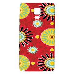 Sunflower Floral Red Yellow Black Circle Galaxy Note 4 Back Case
