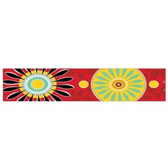 Sunflower Floral Red Yellow Black Circle Flano Scarf (Small)