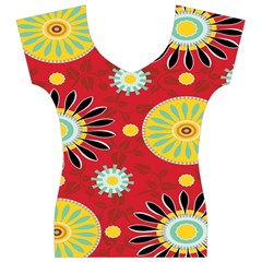Sunflower Floral Red Yellow Black Circle Women s V-Neck Cap Sleeve Top