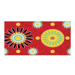 Sunflower Floral Red Yellow Black Circle Satin Wrap
