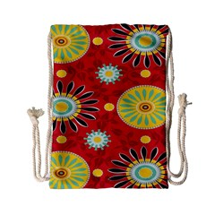 Sunflower Floral Red Yellow Black Circle Drawstring Bag (small)