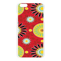 Sunflower Floral Red Yellow Black Circle Apple Seamless iPhone 6 Plus/6S Plus Case (Transparent)