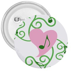 Sweetie Belle s Love Heart Music Note Leaf Green Pink 3  Buttons