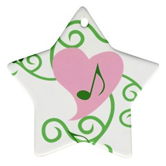 Sweetie Belle s Love Heart Music Note Leaf Green Pink Ornament (Star)