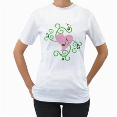Sweetie Belle s Love Heart Music Note Leaf Green Pink Women s T-Shirt (White) (Two Sided)