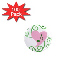 Sweetie Belle s Love Heart Music Note Leaf Green Pink 1  Mini Magnets (100 pack)