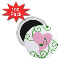 Sweetie Belle s Love Heart Music Note Leaf Green Pink 1.75  Magnets (100 pack)