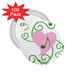 Sweetie Belle s Love Heart Music Note Leaf Green Pink 2.25  Buttons (100 pack)