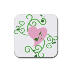 Sweetie Belle s Love Heart Music Note Leaf Green Pink Rubber Square Coaster (4 Pack)