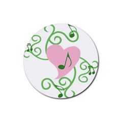 Sweetie Belle s Love Heart Music Note Leaf Green Pink Rubber Round Coaster (4 Pack)